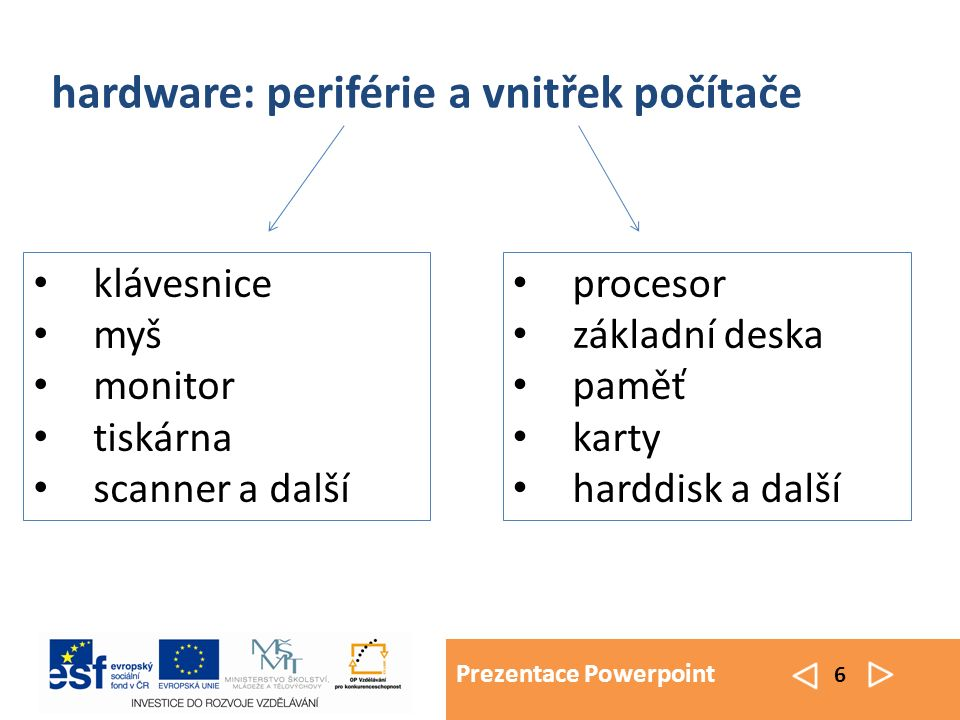 Prezentace Powerpoint 6 procesor základní deska paměť karty harddisk a další hardware: periférie a vnitřek počítače klávesnice myš monitor tiskárna sc