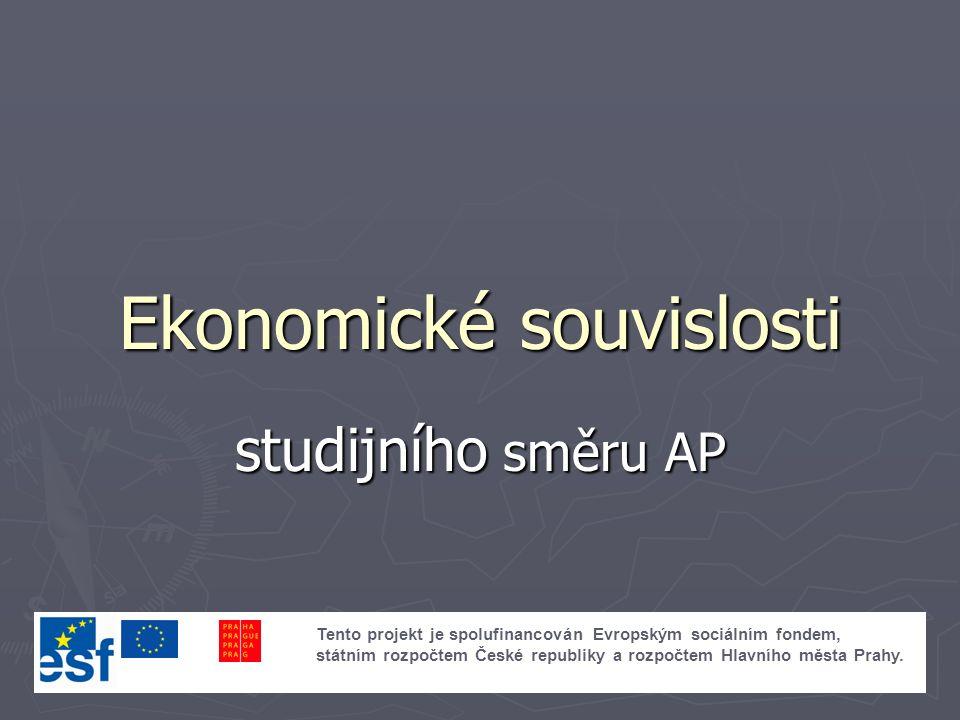 Ekonomické souvislosti studijního směru AP Tento projekt je spolufinancován Evropským sociálním fondem, státním rozpočtem České republiky a rozpočtem Hlavního města Prahy.