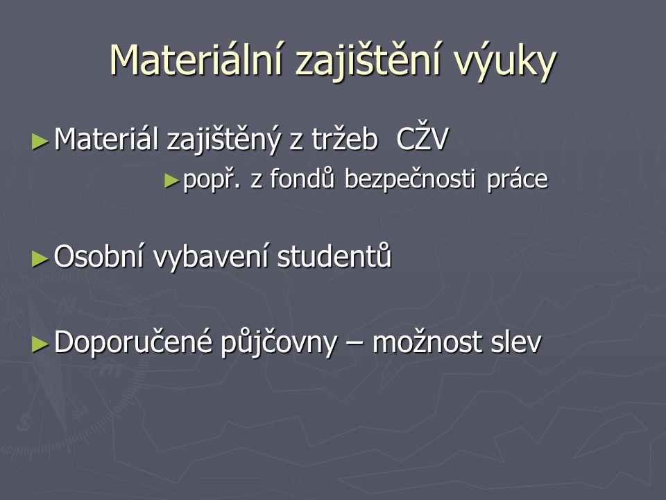 Materiální zajištění výuky ► Materiál zajištěný z tržeb CŽV ► popř.