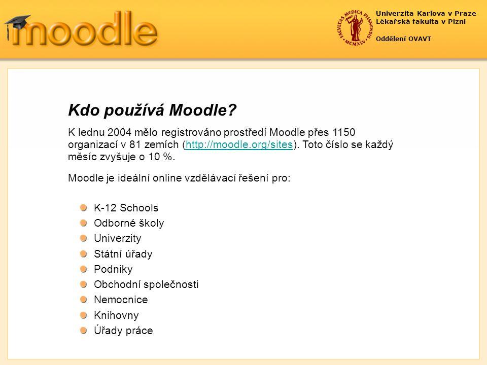 Univerzita Karlova v Praze Lékařská fakulta v Plzni Oddělení OVAVT K lednu 2004 mělo registrováno prostředí Moodle přes 1150 organizací v 81 zemích (http://moodle.org/sites).