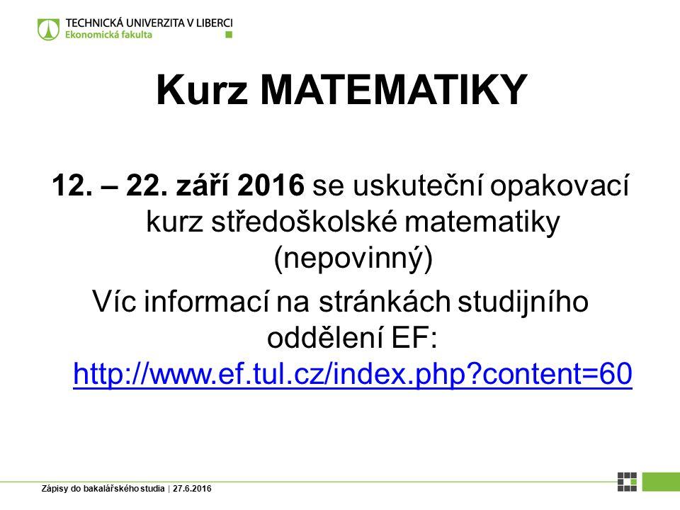 Kurz MATEMATIKY 12.– 22.