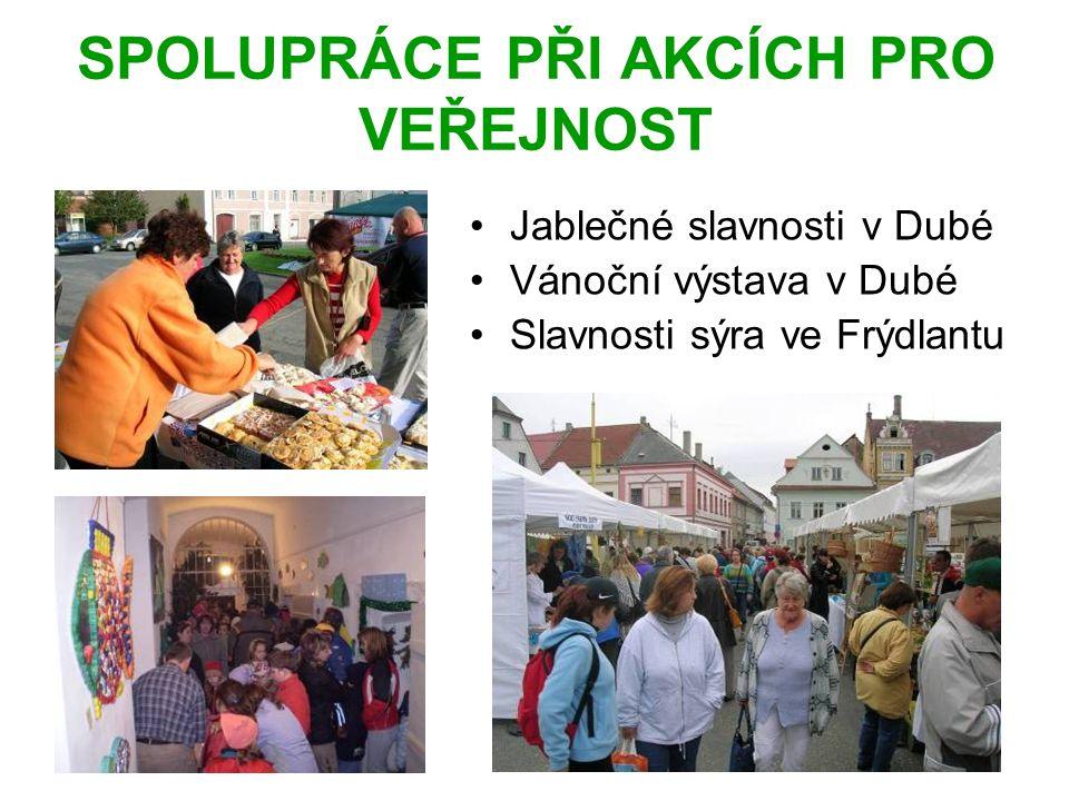 SPOLUPRÁCE PŘI AKCÍCH PRO VEŘEJNOST Jablečné slavnosti v Dubé Vánoční výstava v Dubé Slavnosti sýra ve Frýdlantu