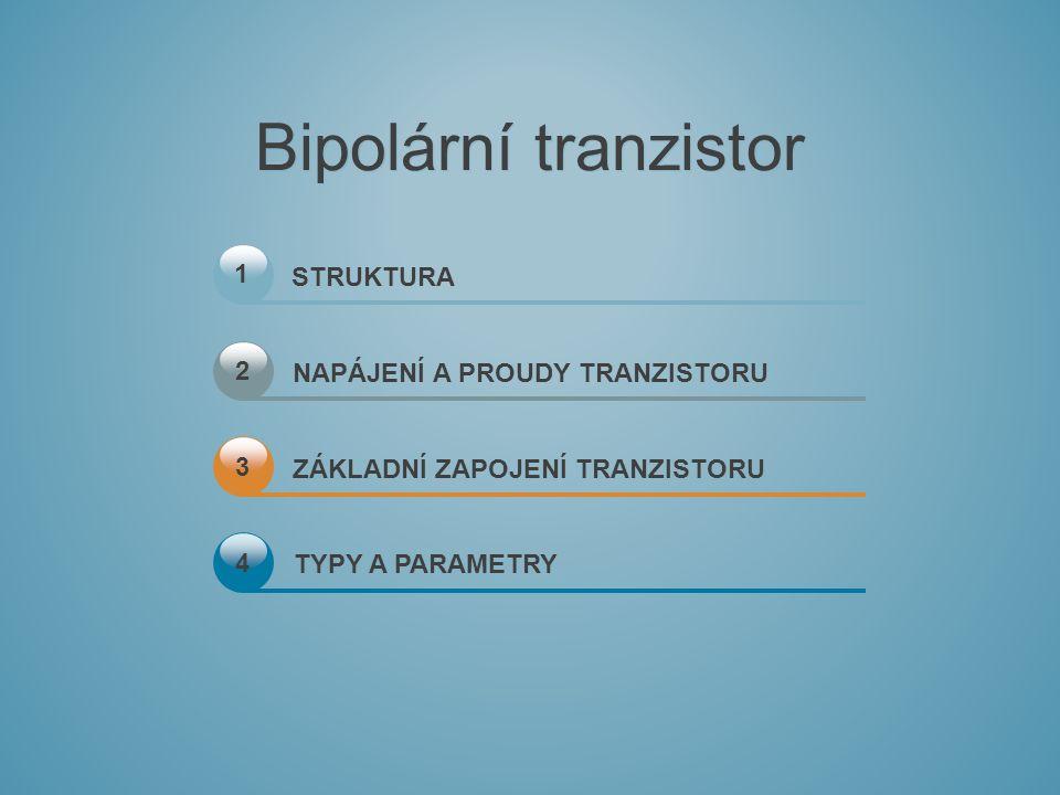 1 STRUKTURA NAPÁJENÍ A PROUDY TRANZISTORU ZÁKLADNÍ ZAPOJENÍ TRANZISTORU TYPY A PARAMETRY 2 3 4 Bipolární tranzistor