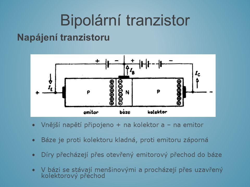 Napájení tranzistoru Bipolární tranzistor Vnější napětí připojeno + na kolektor a – na emitor Báze je proti kolektoru kladná, proti emitoru záporná Díry přecházejí přes otevřený emitorový přechod do báze V bázi se stávají menšinovými a procházejí přes uzavřený kolektorový přechod