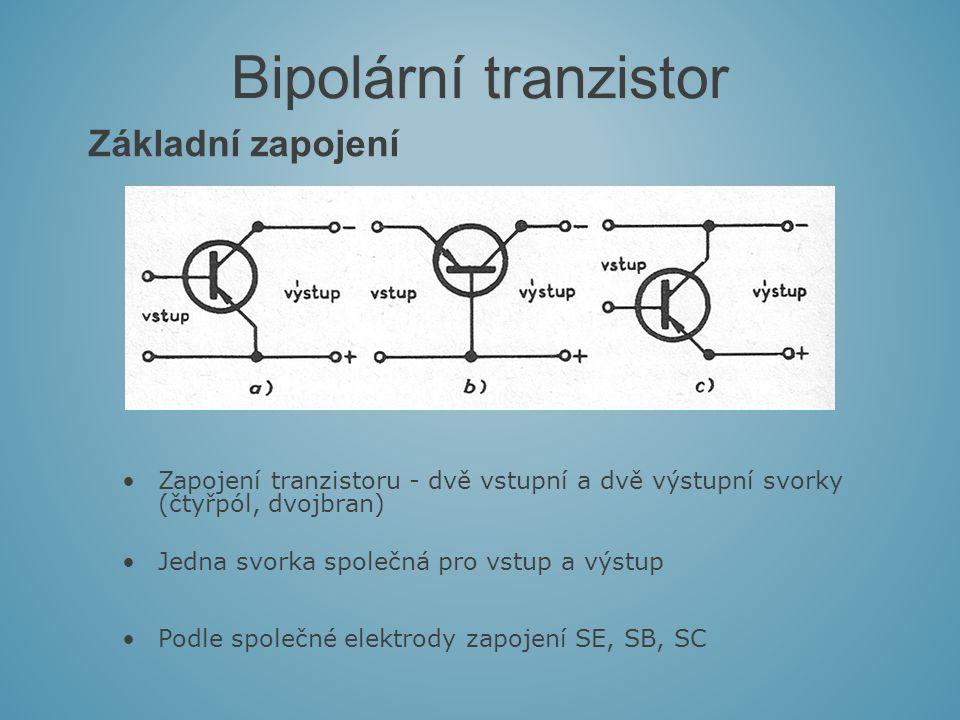 Základní zapojení Bipolární tranzistor Zapojení tranzistoru - dvě vstupní a dvě výstupní svorky (čtyřpól, dvojbran) Jedna svorka společná pro vstup a výstup Podle společné elektrody zapojení SE, SB, SC