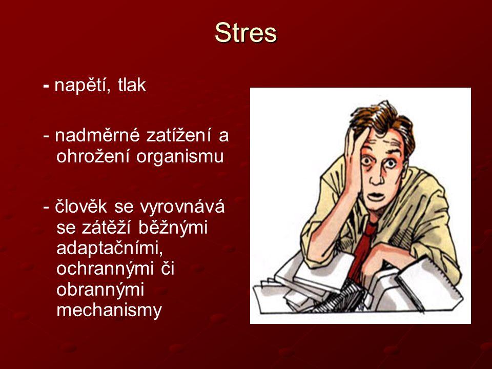 Závěr - každý člověk je jiný, jinak je vybaven na stres – geneticky podmíněné - možno naučit – forma tzv.