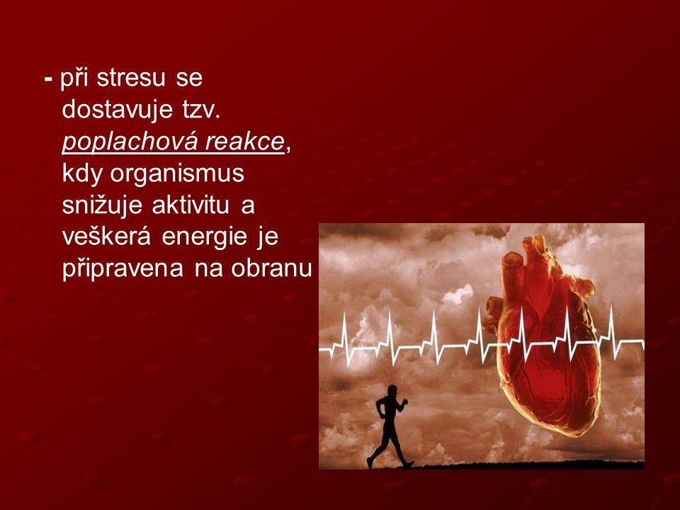 - Poplachová reakce – tento termín do medicíny zavedl americký fyziolog – Hans Selye americký fyziolog – Hans Selye – při chronickém stresu zbytní kůra nadledvin a vyplavuje se adrenalin a noradrenalin Hans Selye