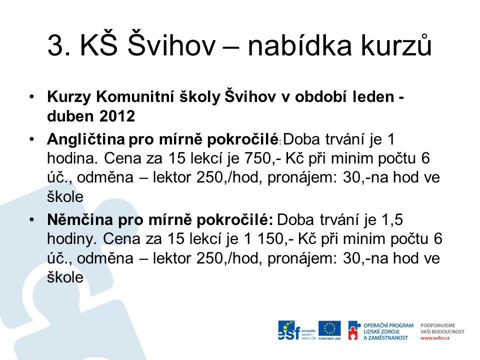 3. KŠ Švihov – nabídka kurzů Kurzy Komunitní školy Švihov v období leden - duben 2012 Angličtina pro mírně pokročilé : Doba trvání je 1 hodina. Cena z