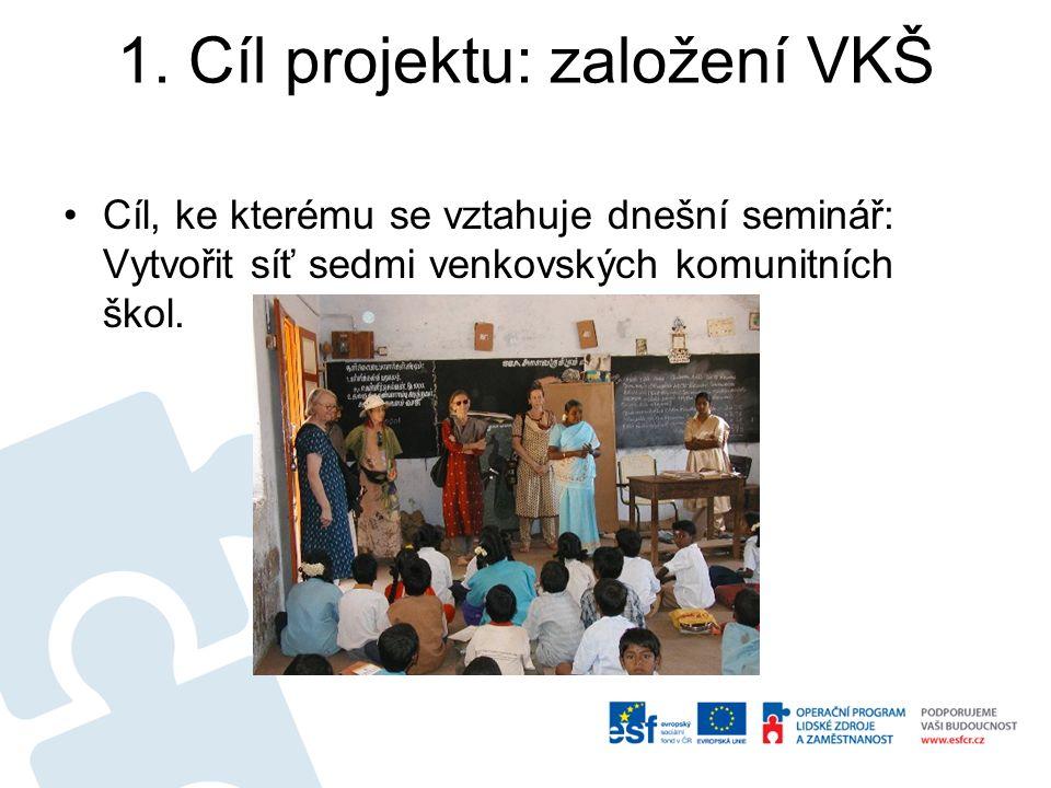 1. Cíl projektu: založení VKŠ Cíl, ke kterému se vztahuje dnešní seminář: Vytvořit síť sedmi venkovských komunitních škol.