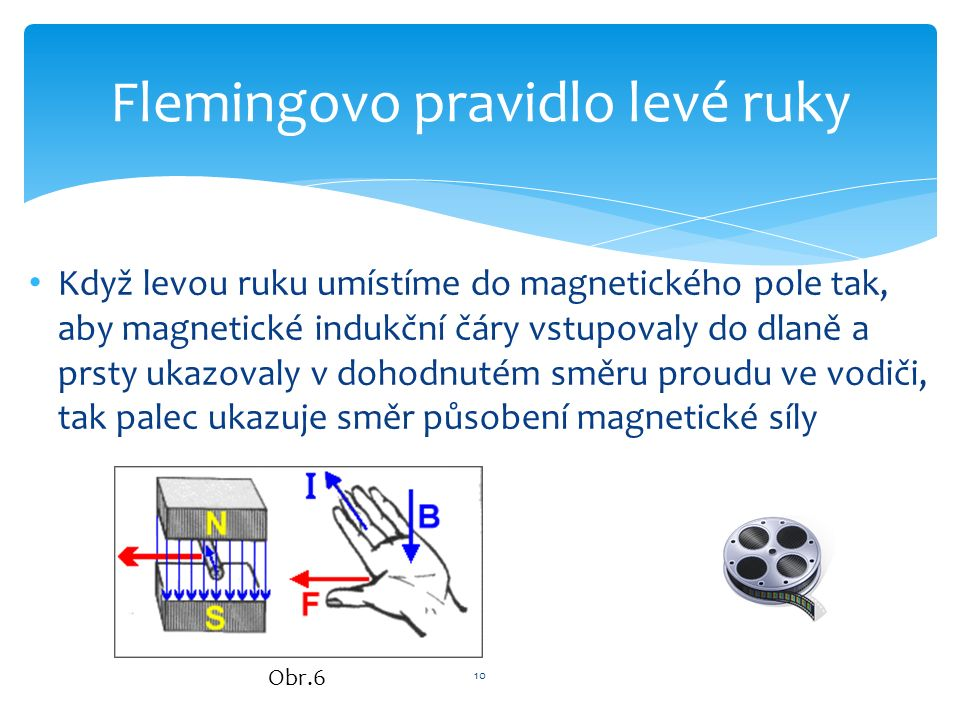 Když levou ruku umístíme do magnetického pole tak, aby magnetické indukční čáry vstupovaly do dlaně a prsty ukazovaly v dohodnutém směru proudu ve vodiči, tak palec ukazuje směr působení magnetické síly 10 Flemingovo pravidlo levé ruky Obr.6