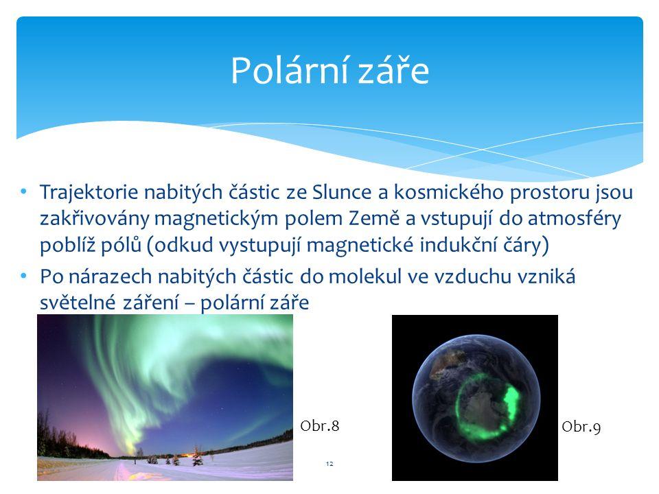 Trajektorie nabitých částic ze Slunce a kosmického prostoru jsou zakřivovány magnetickým polem Země a vstupují do atmosféry poblíž pólů (odkud vystupují magnetické indukční čáry) Po nárazech nabitých částic do molekul ve vzduchu vzniká světelné záření – polární záře 12 Polární záře Obr.8 Obr.9