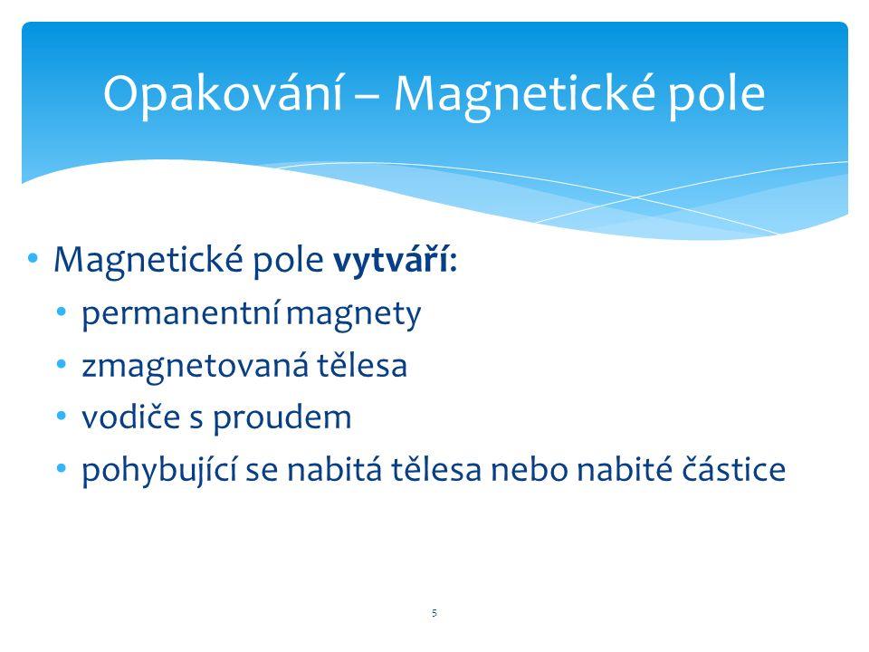 Magnetické pole vytváří: permanentní magnety zmagnetovaná tělesa vodiče s proudem pohybující se nabitá tělesa nebo nabité částice 5 Opakování – Magnet