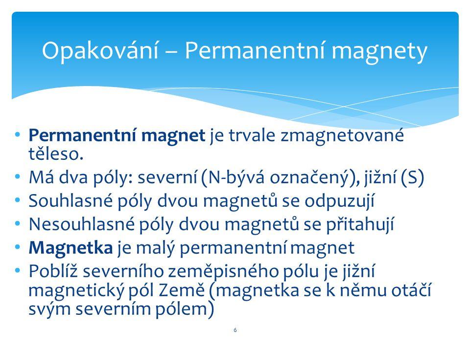 Permanentní magnet je trvale zmagnetované těleso. Má dva póly: severní (N-bývá označený), jižní (S) Souhlasné póly dvou magnetů se odpuzují Nesouhlasn