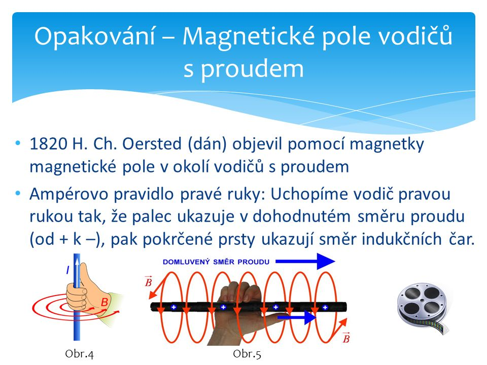 1820 H. Ch. Oersted (dán) objevil pomocí magnetky magnetické pole v okolí vodičů s proudem Ampérovo pravidlo pravé ruky: Uchopíme vodič pravou rukou t