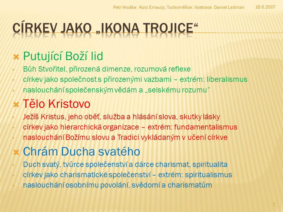 V následujícím skupině písmen škrtněte pět písmen, takže výsledkem bude jedno srozumitelné slovo v češtině: PP S Ě P T O P L Í S U P M R Á E C N E PP S Ě P T O P L Í S U P M R Á E C N E Níže zobrazených devět smajlíků spojte čtyřmi na sebe navazujícími úsečkami jedním tahem: 16.6.2007 18 Petr Hruška: Kurz Emauzy, Tuchoměřice; ilustrace: Daniel Ladman