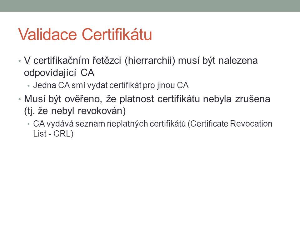 Validace Certifikátu V certifikačním řetězci (hierrarchii) musí být nalezena odpovídající CA Jedna CA smí vydat certifikát pro jinou CA Musí být ověřeno, že platnost certifikátu nebyla zrušena (tj.