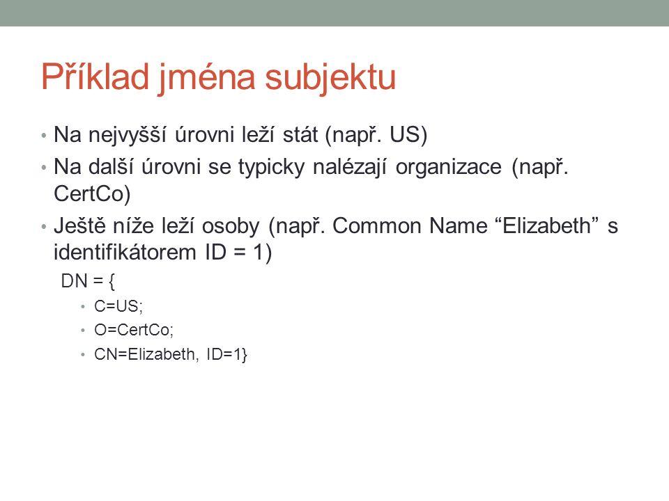 Příklad jména subjektu Na nejvyšší úrovni leží stát (např.