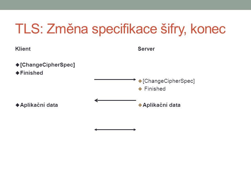 TLS: Změna specifikace šifry, konec Klient  [ChangeCipherSpec]  Finished  Aplikační data Server  [ChangeCipherSpec]  Finished  Aplikační data