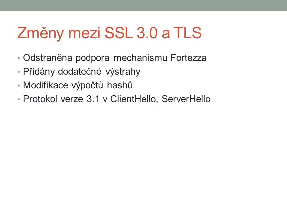 Změny mezi SSL 3.0 a TLS Odstraněna podpora mechanismu Fortezza Přidány dodatečné výstrahy Modifikace výpočtů hashů Protokol verze 3.1 v ClientHello, ServerHello