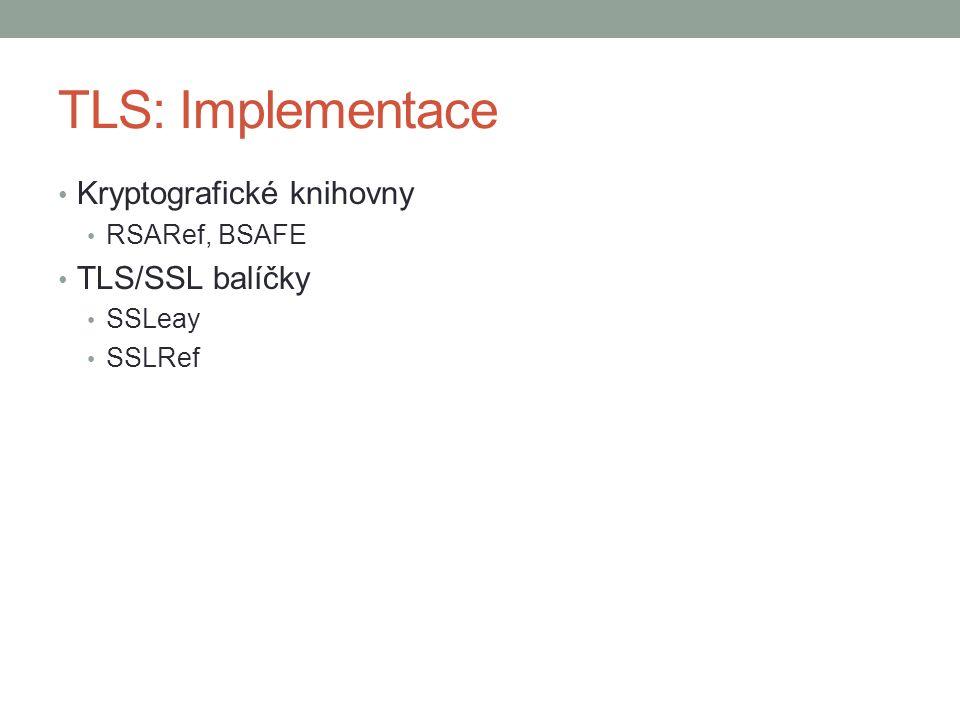 TLS: Implementace Kryptografické knihovny RSARef, BSAFE TLS/SSL balíčky SSLeay SSLRef