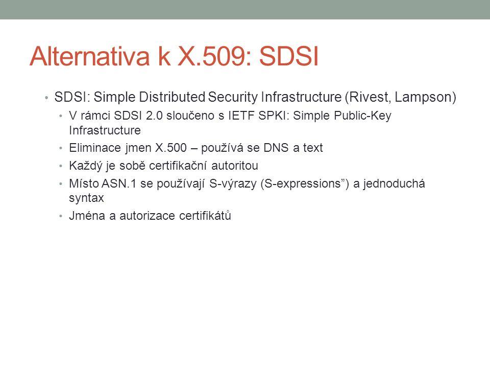 Alternativa k X.509: SDSI SDSI: Simple Distributed Security Infrastructure (Rivest, Lampson) V rámci SDSI 2.0 sloučeno s IETF SPKI: Simple Public-Key Infrastructure Eliminace jmen X.500 – používá se DNS a text Každý je sobě certifikační autoritou Místo ASN.1 se používají S-výrazy (S-expressions ) a jednoduchá syntax Jména a autorizace certifikátů