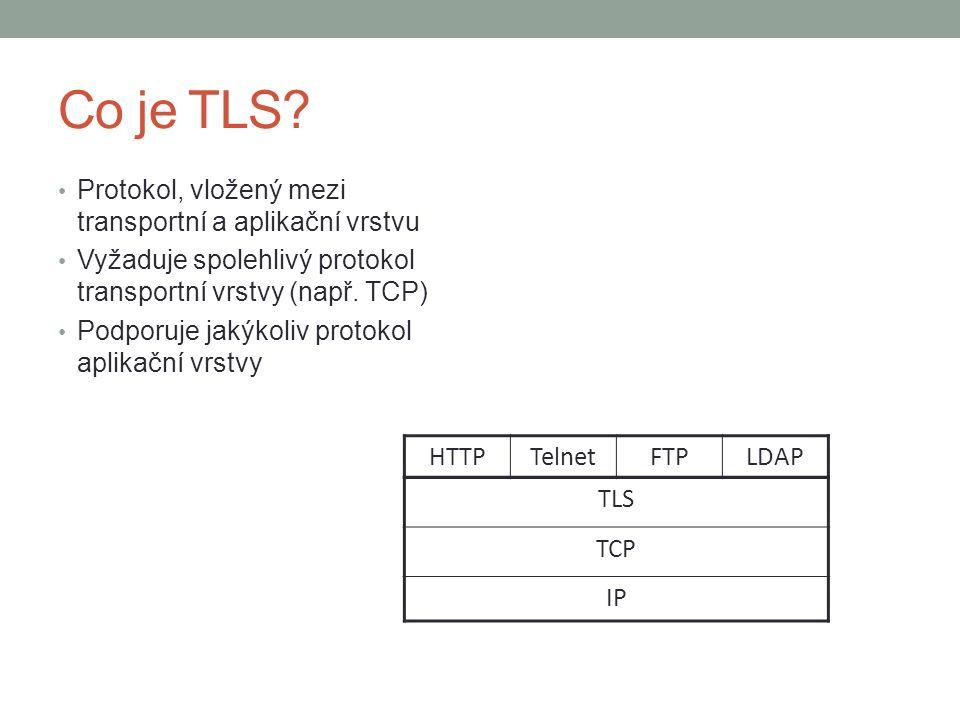 Co je TLS? Protokol, vložený mezi transportní a aplikační vrstvu Vyžaduje spolehlivý protokol transportní vrstvy (např. TCP) Podporuje jakýkoliv proto