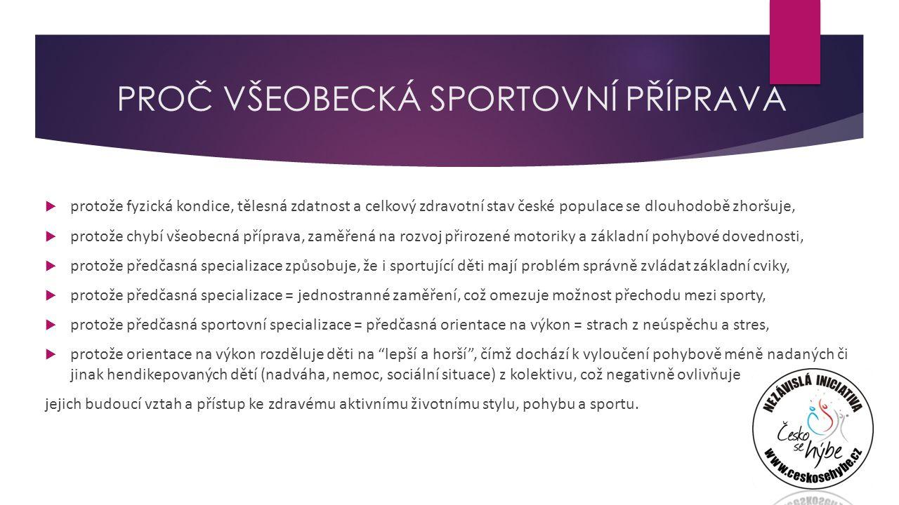 PROČ VŠEOBECKÁ SPORTOVNÍ PŘÍPRAVA  protože fyzická kondice, tělesná zdatnost a celkový zdravotní stav české populace se dlouhodobě zhoršuje,  protože chybí všeobecná příprava, zaměřená na rozvoj přirozené motoriky a základní pohybové dovednosti,  protože předčasná specializace způsobuje, že i sportující děti mají problém správně zvládat základní cviky,  protože předčasná specializace = jednostranné zaměření, což omezuje možnost přechodu mezi sporty,  protože předčasná sportovní specializace = předčasná orientace na výkon = strach z neúspěchu a stres,  protože orientace na výkon rozděluje děti na lepší a horší , čímž dochází k vyloučení pohybově méně nadaných či jinak hendikepovaných dětí (nadváha, nemoc, sociální situace) z kolektivu, což negativně ovlivňuje jejich budoucí vztah a přístup ke zdravému aktivnímu životnímu stylu, pohybu a sportu.