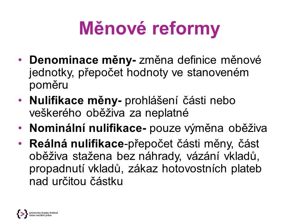 Měnové reformy Denominace měny- změna definice měnové jednotky, přepočet hodnoty ve stanoveném poměru Nulifikace měny- prohlášení části nebo veškerého