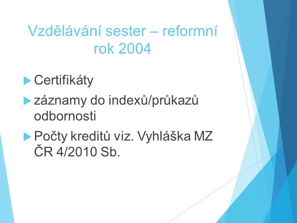 Vzdělávání sester – reformní rok 2004  Certifikáty  záznamy do indexů/průkazů odbornosti  Počty kreditů viz. Vyhláška MZ ČR 4/2010 Sb.