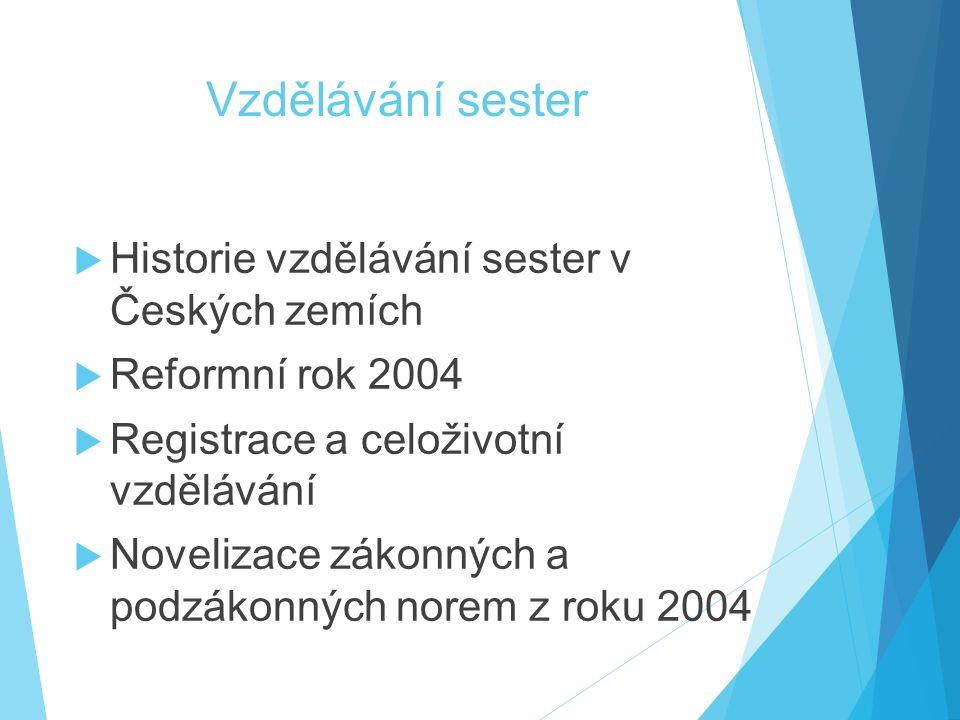 Vzdělávání sester  Historie vzdělávání sester v Českých zemích  Reformní rok 2004  Registrace a celoživotní vzdělávání  Novelizace zákonných a pod
