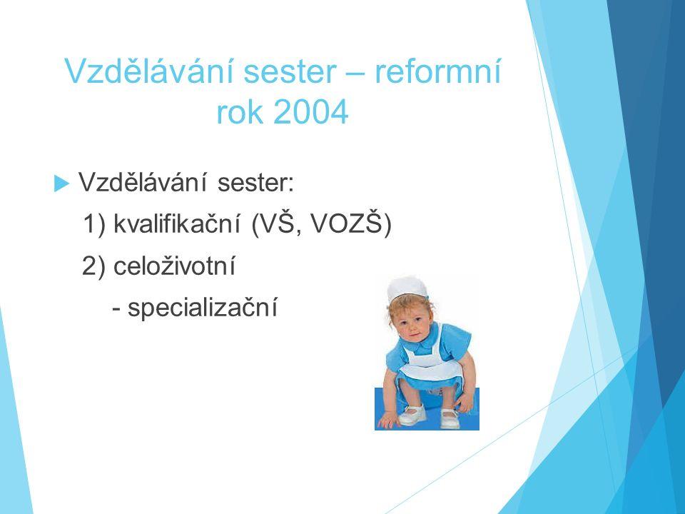 Vzdělávání sester – reformní rok 2004  Vzdělávání sester: 1) kvalifikační (VŠ, VOZŠ) 2) celoživotní - specializační