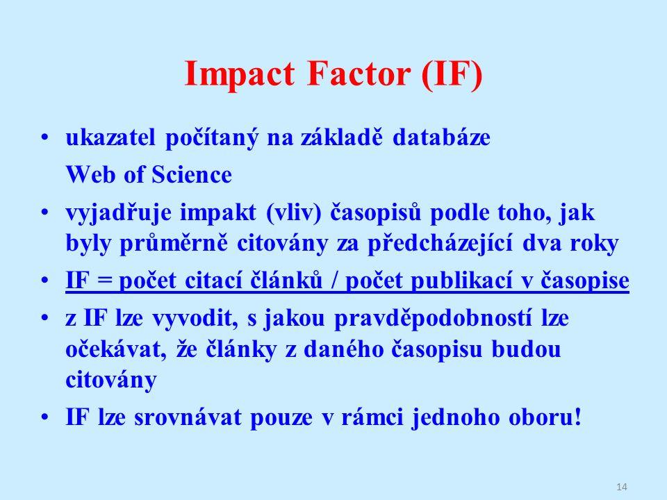 Impact Factor (IF) ukazatel počítaný na základě databáze Web of Science vyjadřuje impakt (vliv) časopisů podle toho, jak byly průměrně citovány za předcházející dva roky IF = počet citací článků / počet publikací v časopise z IF lze vyvodit, s jakou pravděpodobností lze očekávat, že články z daného časopisu budou citovány IF lze srovnávat pouze v rámci jednoho oboru.