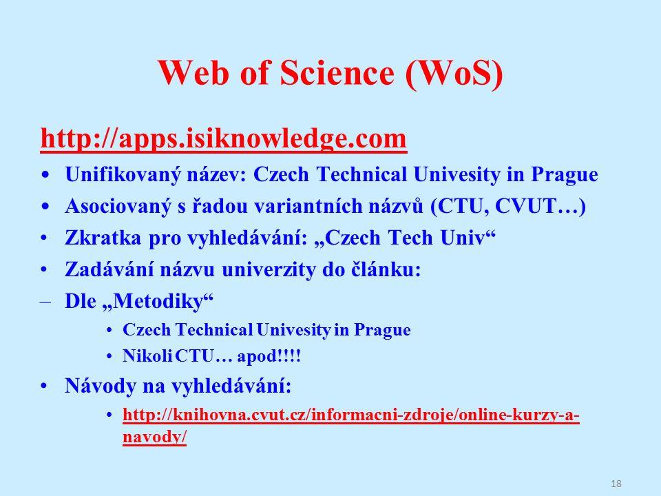 """Web of Science (WoS) http://apps.isiknowledge.com Unifikovaný název: Czech Technical Univesity in Prague Asociovaný s řadou variantních názvů (CTU, CVUT…) Zkratka pro vyhledávání: """"Czech Tech Univ Zadávání názvu univerzity do článku: –Dle """"Metodiky Czech Technical Univesity in Prague Nikoli CTU… apod!!!."""