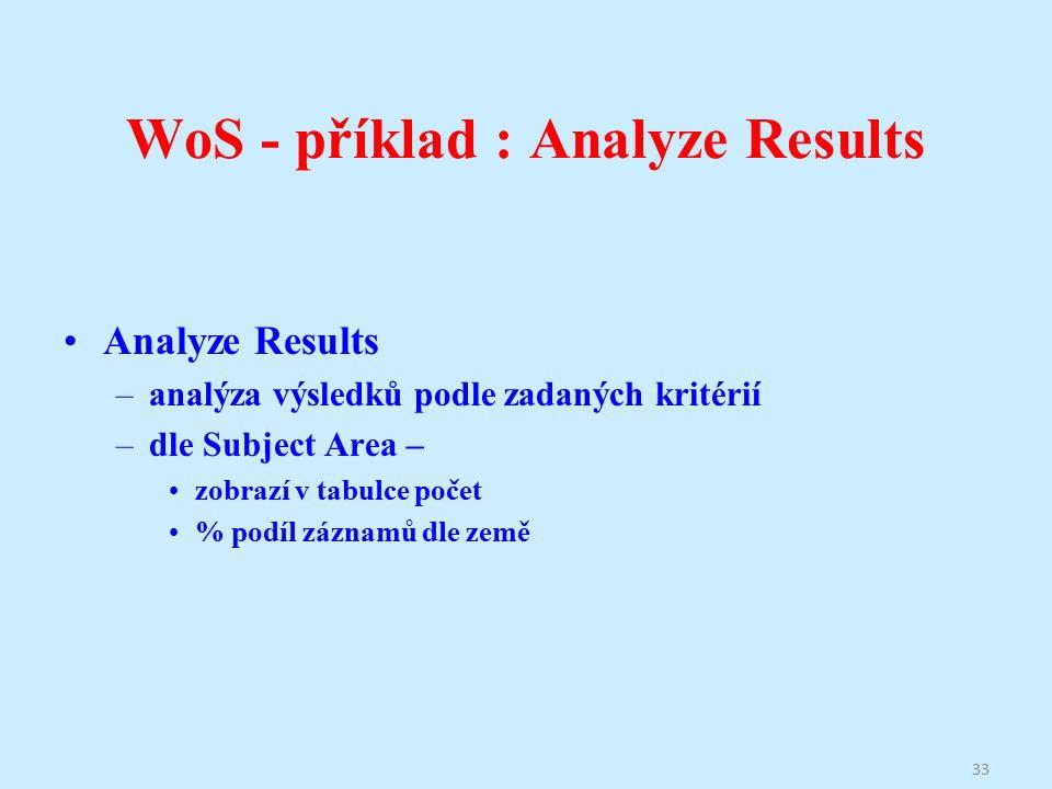 WoS - příklad : Analyze Results Analyze Results –analýza výsledků podle zadaných kritérií –dle Subject Area – zobrazí v tabulce počet % podíl záznamů dle země 33