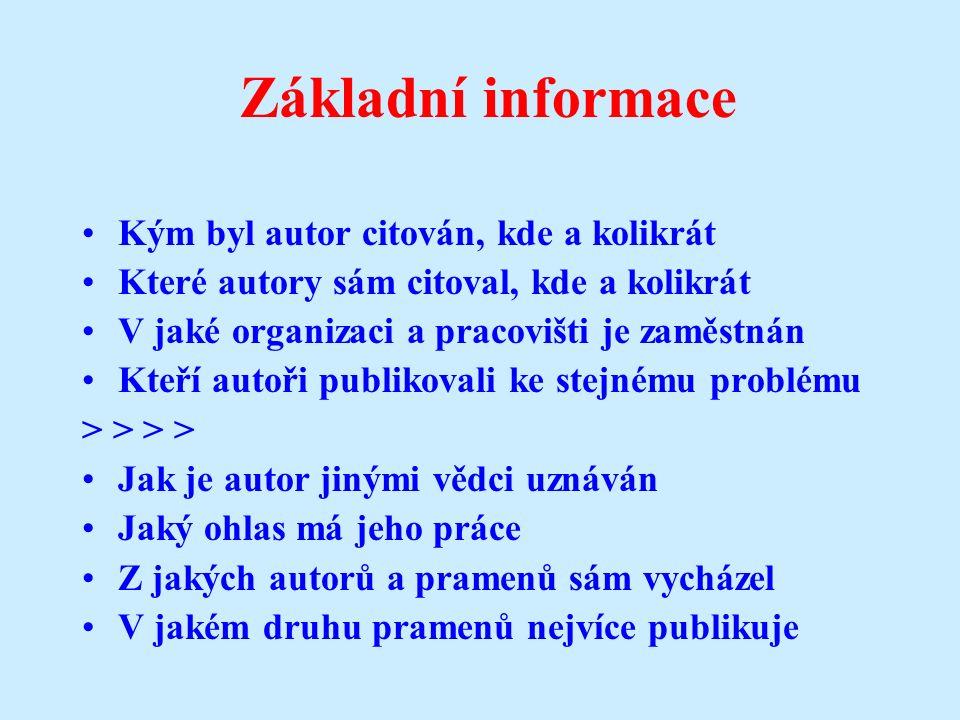 Web of Science Institut for Scientific Information (ISI) –prof.