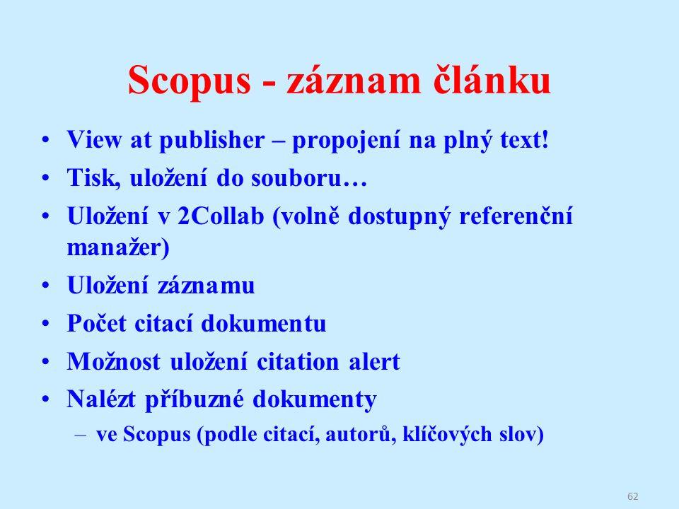 Scopus - záznam článku View at publisher – propojení na plný text.