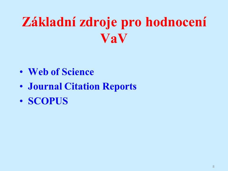 Základní zdroje pro hodnocení VaV Web of Science Journal Citation Reports SCOPUS 8
