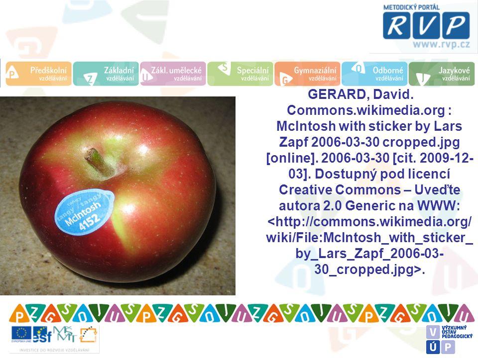 GERARD, David. Commons.wikimedia.org : McIntosh with sticker by Lars Zapf 2006-03-30 cropped.jpg [online]. 2006-03-30 [cit. 2009-12- 03]. Dostupný pod