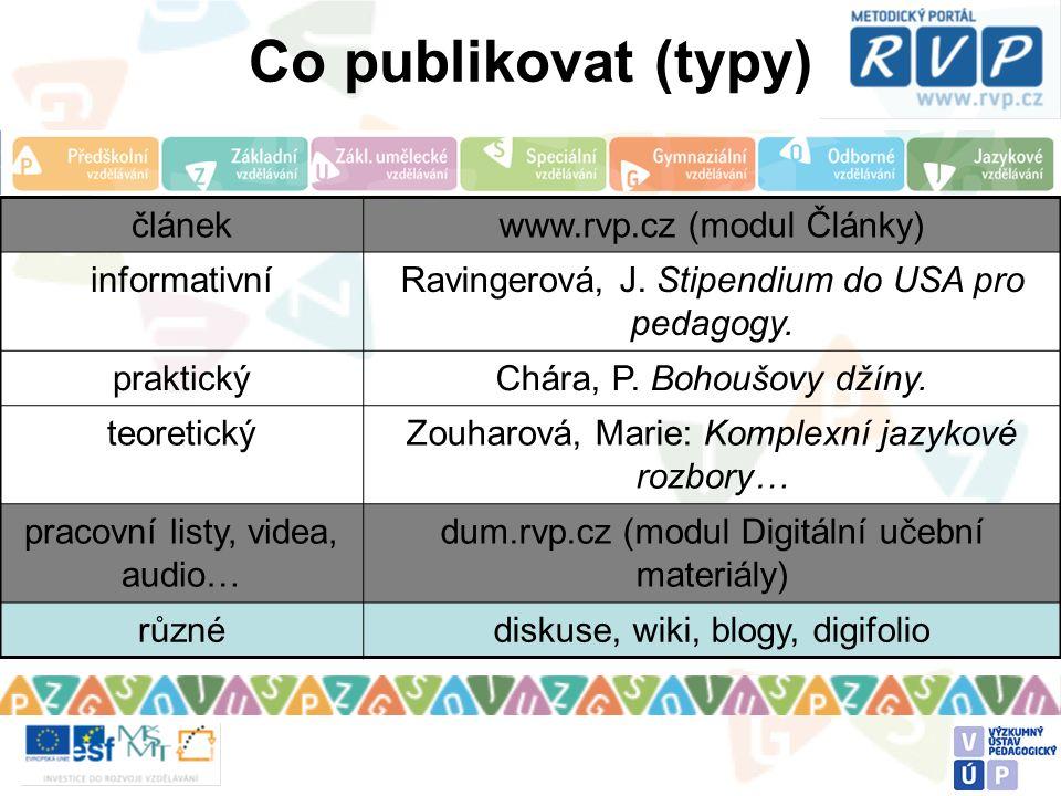 Co publikovat (typy) článekwww.rvp.cz (modul Články) informativníRavingerová, J. Stipendium do USA pro pedagogy. praktickýChára, P. Bohoušovy džíny. t
