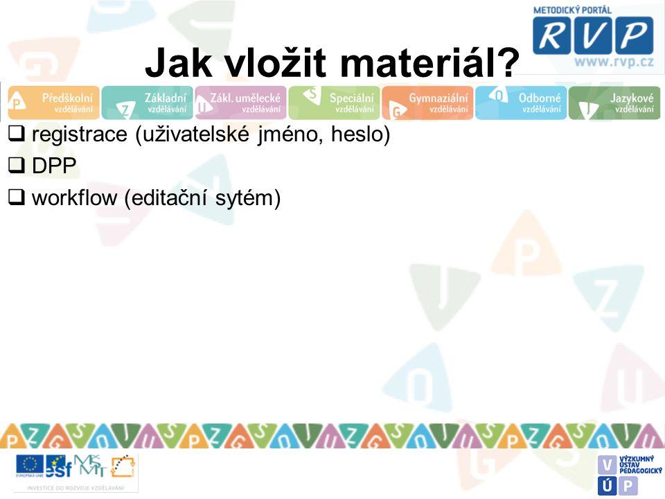 Jak vložit materiál?  registrace (uživatelské jméno, heslo)  DPP  workflow (editační sytém)