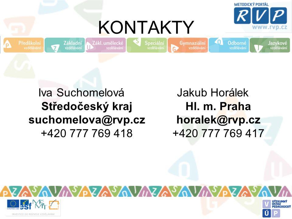 KONTAKTY Iva Suchomelová Středočeský kraj suchomelova@rvp.cz +420 777 769 418 Jakub Horálek Hl.