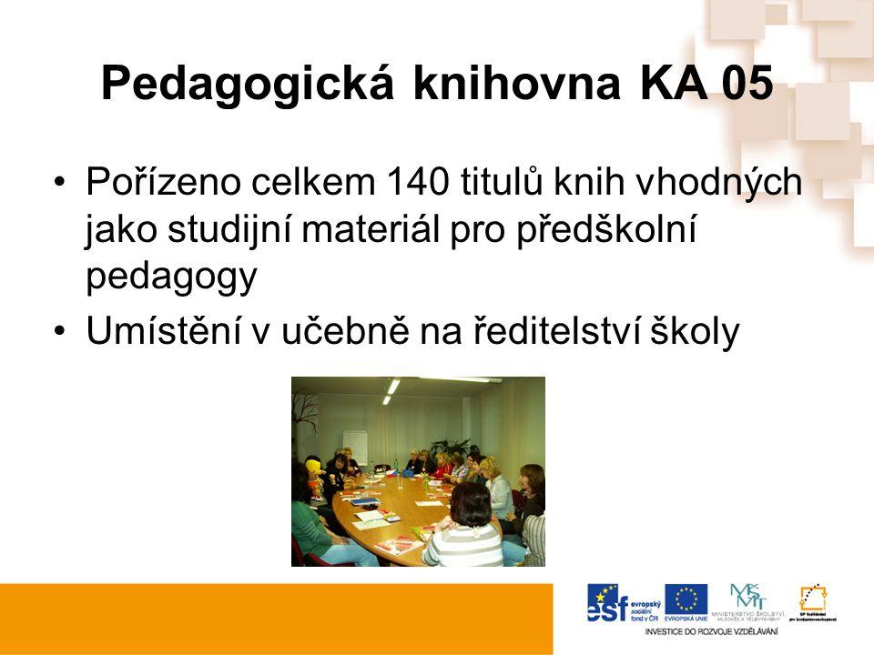 Pedagogická knihovna KA 05 Pořízeno celkem 140 titulů knih vhodných jako studijní materiál pro předškolní pedagogy Umístění v učebně na ředitelství školy