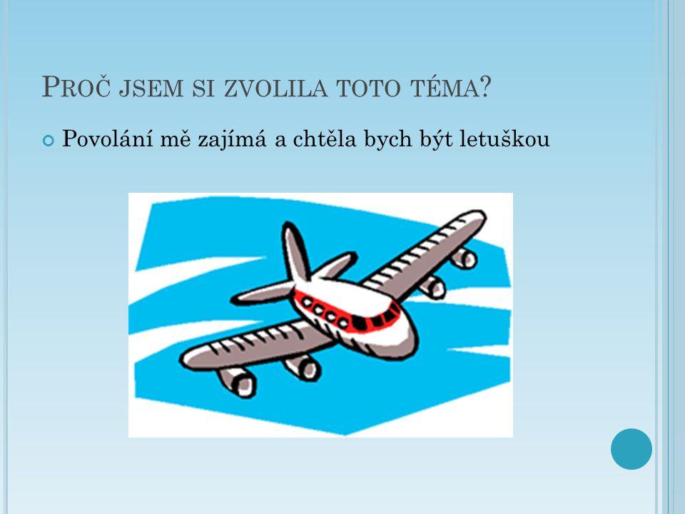 P ROČ JSEM SI ZVOLILA TOTO TÉMA Povolání mě zajímá a chtěla bych být letuškou
