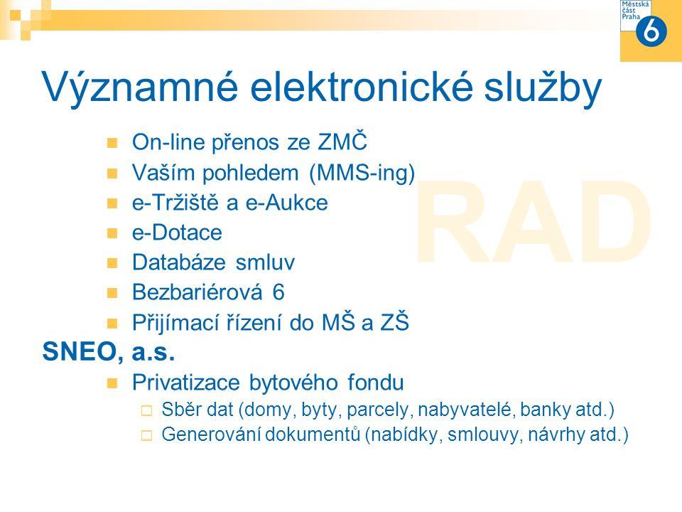 Významné elektronické služby On-line přenos ze ZMČ Vaším pohledem (MMS-ing) e-Tržiště a e-Aukce e-Dotace Databáze smluv Bezbariérová 6 Přijímací řízení do MŠ a ZŠ Privatizace bytového fondu  Sběr dat (domy, byty, parcely, nabyvatelé, banky atd.)  Generování dokumentů (nabídky, smlouvy, návrhy atd.) SNEO, a.s.
