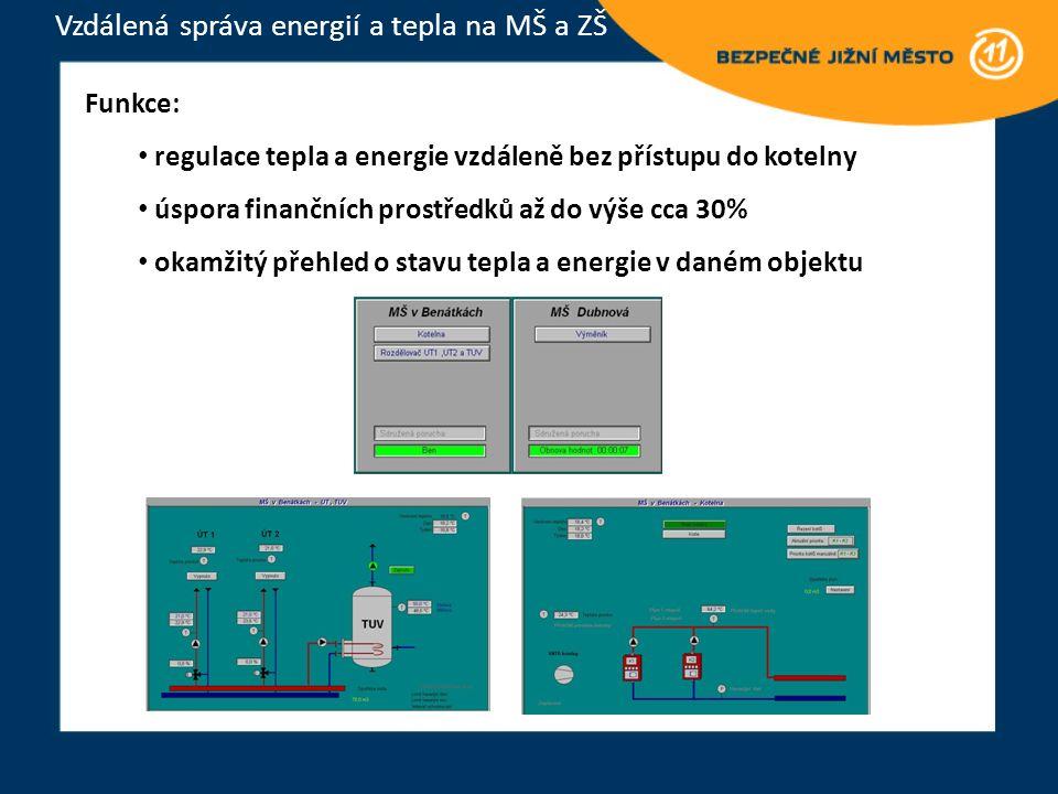 Funkce: regulace tepla a energie vzdáleně bez přístupu do kotelny úspora finančních prostředků až do výše cca 30% okamžitý přehled o stavu tepla a energie v daném objektu Vzdálená správa energií a tepla na MŠ a ZŠ