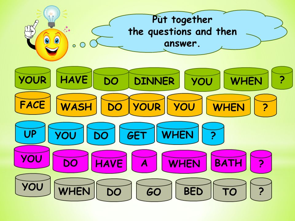 Put together the questions and then answer. YOUR HAVE DODINNER YOU .