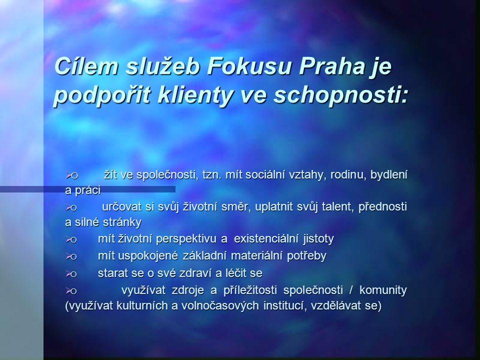 Poslání sdružení Posláním Fokusu Praha je podpora lidí se zkušeností duševní nemoci ve spokojeném zvládání života a nalézání možností osobní realizace ve společnosti.