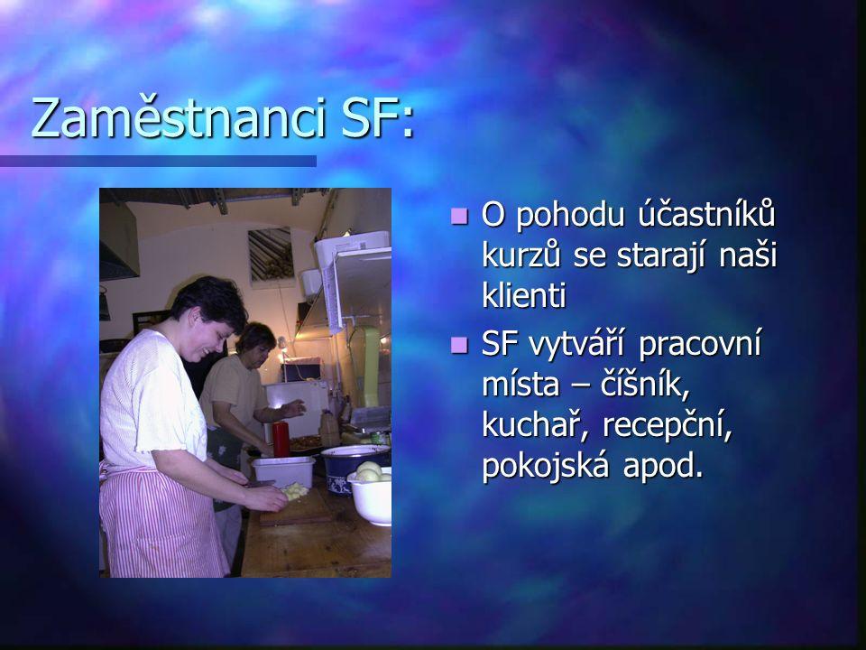 Zaměstnanci SF: O pohodu účastníků kurzů se starají naši klienti SF vytváří pracovní místa – číšník, kuchař, recepční, pokojská apod.