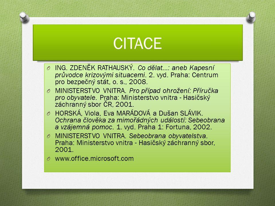 CITACE O ING. ZDENĚK RATHAUSKÝ. Co dělat...: aneb Kapesní průvodce krizovými situacemi. 2. vyd. Praha: Centrum pro bezpečný stát, o. s., 2008. O MINIS