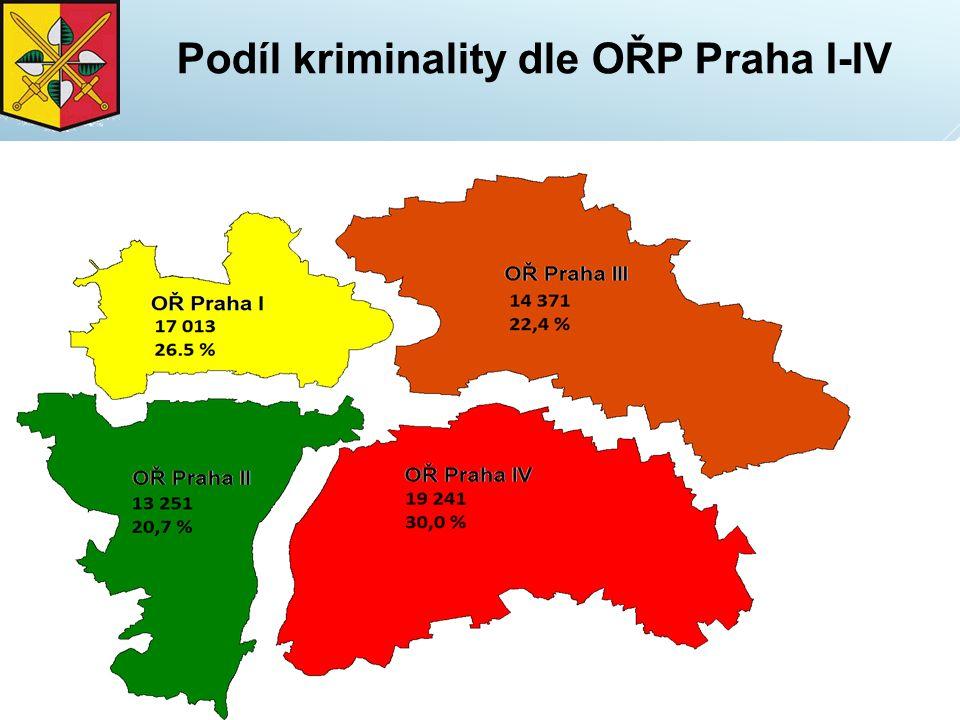 Podíl kriminality dle OŘP Praha I-IV